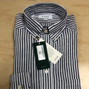 Eton Linen Striped Button Down